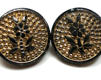 """2 Antique GLASS buttons, Victorian flowers on black glass with gold luster. 11/16""""."""