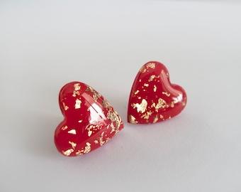 Large Red  Gold Heart Stud - Hypoallergenic Titanium Posts