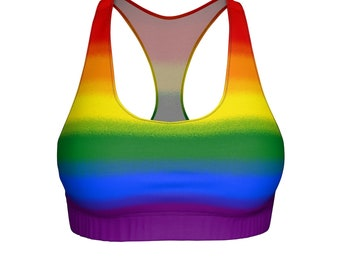 Rainbow Gay Pride Flag Sports Bra Trans Pride Flag Queer Lesbian Asexual Lgbt Bisexual Lgbtq