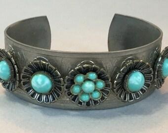 Silver Tone Faux Turquoise Cuff Bracelet