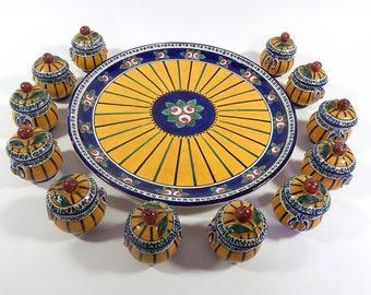 12 French Antique Porcelain Chocolate Pots on Server by Renoleau