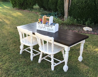 Kids farmhouse table with bench