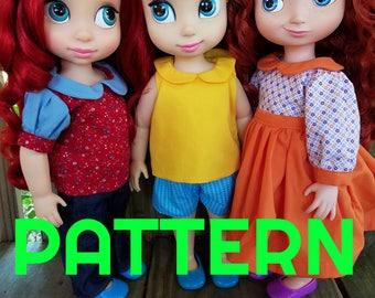 All Seasons Peter Pan Collar Shirt SEWING PATTERN for Disney Animator Dolls, Sewing Pattern, Doll Clothes, 16 in Doll Clothes, Shirt Pattern
