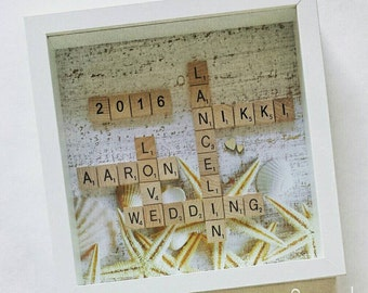 Personalised Scrabble Wall Art - Wedding Family Name Frame Gift