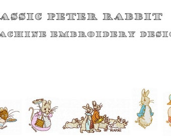 Machine Embroidery Designs - Classic Peter Rabbit - Instant Digital Download - Pes / Jef / Hus / Dst / Exp / Vip / Vp3 / Xxx Formats
