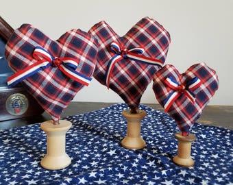 Patriotic Heart Shelf Sitter/Wooden Spool/Homespun Fabric/Vintage Ribbon/Country Decor/Americana/4th of July