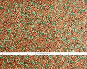 Metallic Gold, Red & Green Swirls Christmas Fabric, Robert Kaufman 7792 Fusions, Metallic Holiday Quilt Fabric, Cotton