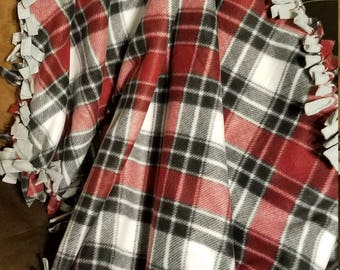 Red and Black Plaid Fleece Tie Blanket