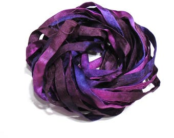 5YD. BERRY FIZZ 4MM X 5YD. (15feet) Hand Dyed Silk Bracelet Cording//4MM Cording With Hollowed Center//Easy Insertion Of Memory Wire