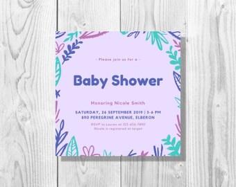 Purple Leaves Baby Shower Invitation - Printable