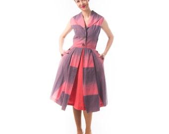 robe d'été de 1940 Ombre / 40 en coton rose et violet coton robe de jour