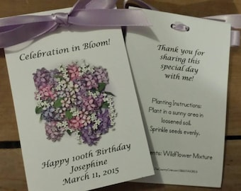 Lilac Bunch Design with Wildflower Seeds inside Flower Seed Packets for Birthday or Bridal Shower Anniversary SALE