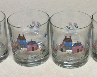Vintage Heartland International 4 Glasses 8 Oz Farm Scene - Birds