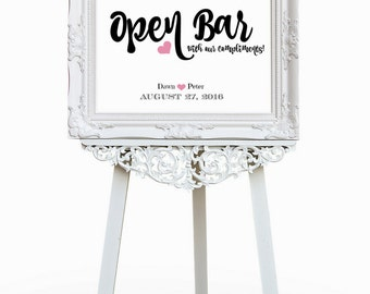 Wedding Open Bar Sign |  Wedding Sign Printable | Wedding Signage | Wedding Reception Wedding Party Sign | CWS303_2522C