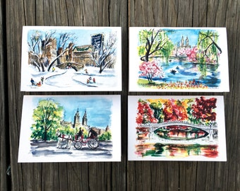 Central Park Seasonal cards: Set of 4 beautiful different seasons