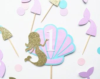 Mermaid theme cake topper in custom colours