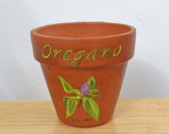 Oregano Herb Pot 4 Inch Red Clay Terracotta Hand Painted Indoor/Outdoor Flower Pot Illustrated and Lettered
