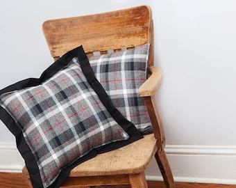 Gray Flannel Pillow, Gray Black, Flannel Pillow, Throw Pillow, Plaid, Gray Black Pillow, Decorative Pillow, Boys Room Decor, Cotton Pillows