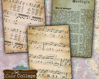 Time Gone By, Digital Collage Sheet, Gift Tags, Earrings Cards, Mini Cards, Collage Sheets, Printable, Vintage Download, Calico Collage
