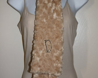 Minky Scarf Personalized - Embroidered Initial/Monogram -  Rosebud Minky Scarf - Beige/Camel and Brown