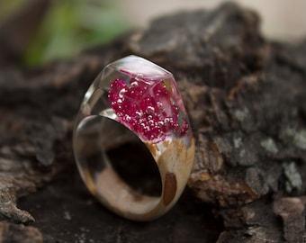 Wood resin ring,Resin red ring,Nature ring,Gift resin ring,Resin ring,Wood ring gift for her,Resin ring gift,Wooden ring,wood ring for her