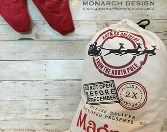 Personalized CHRISTMAS SANTA SACK Santa Claus Large Canvas Bag Toy Storage Giant Gift Bag Customize with Child's Name or Family Last Name