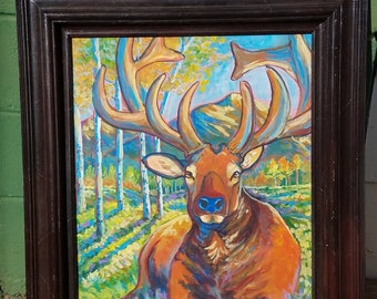 resting elk deer moose original painting