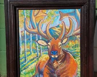 resting elk deer moose original painting