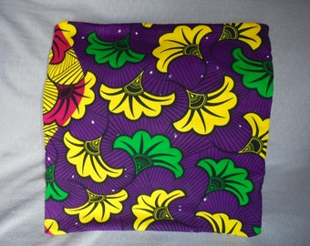 Cover for pillow 40 on 40 WAX certified fuchsia, yellow, green, purple and Black canvas.