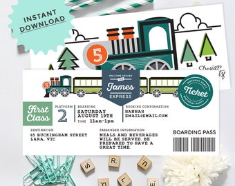 Train Boarding Pass Ticket Invitation, INSTANT DOWNLOAD, DIY Printable, Templett, Editable pdf jpeg
