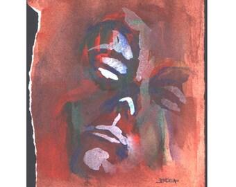 Suffer Face - JENDRIA Original Watercolor Painting Art