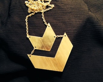 Chunky brass two-tiered  statement necklace