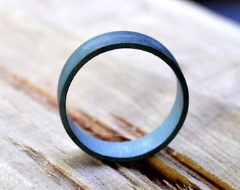Men's Oxidized Sterling Silver Ring. (Oxidised, Black, Grey) Wedding Ring. 6mm Wide Flat Band. Custom Size. Recycled Sterling Silver. Eco.