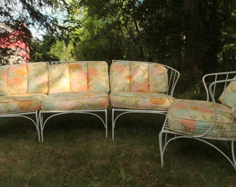 Wrought iron patio furniture /Salterini style outdoor loveseat and arm chair