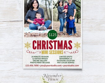 Christmas Mini Session Template, Letterpress Look, Photoshop Template, Photography Marketing, Mini Sessions Template, Instant Download