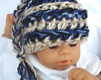 crochet pattern hat num. 94... CHUNKY Style  Blue  And  Tan Pixie Hat  All sizes baby to adult INSTANT DOWNLOAD
