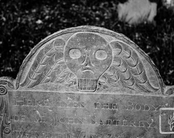 B&W #Photograph, #skull, #creepy, #cemetery, headstone, gravestone, halloween, wall art, home decor, photo print, fine art, death, New York