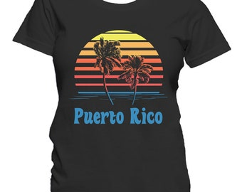 Puerto Rico Sunset Palm Trees Beach Vacation Women's T-Shirt