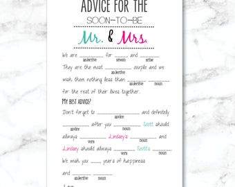 YOU PRINT Personalized Digital File: Advice for the bride and groom- Mad Lib