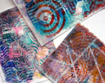 Original Handmade Gelli Print Collage Artist Papers for Mixed Media and Art Journaling 1203_03