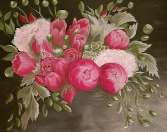 Acrylic Floral Painting,Old World Flowers Painting,Vintage Painting,gallery canvas,floral artwork,flowers art,floral wall decor,original art