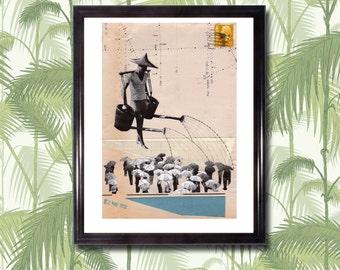 HONG KONG (Rain) - Art Print, Collage, Cut Paper, Colonial, Vintage