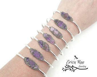 Raw amethyst stone and crushed pyrite bangle bracelet, silver bangle,  rough amethyst gemstones, raw jewelry, boho jewelry,  birthstone
