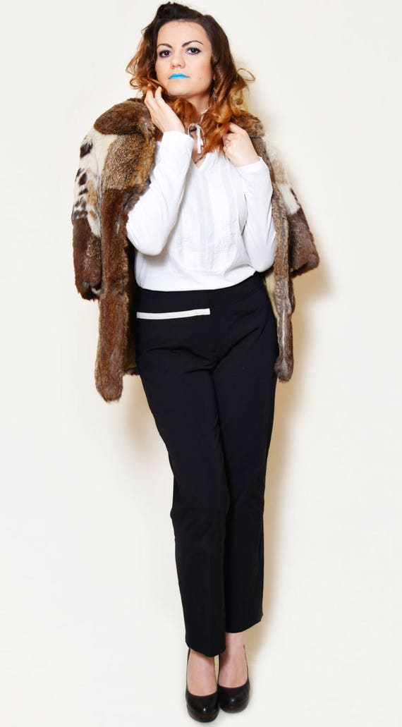 collar sexy fitted button boho elegant neck 80s soft real up sleeve high winter 3 fur fur genuine jacket tight furs short rabbit coat 4 fur wvZpO