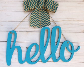 Hello Wood Sign -  Hello Wooden Sign - Laser Cut Wood Sign - Hello Script Wood Sign - Wood Wall Decor - Wood Cut Out Sign - Signs