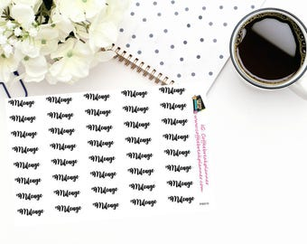 "Planner Stickers|Script Words for Planners and Journals|""Mileage"" in script for your planner/journalWord Stickers