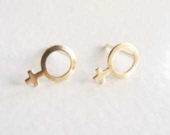 Feminist Earrings, Feminist Jewelry, Girl Power, Tiny Feminist Stud Earrings, Golden Brass , Venus Symbol, Sterling Silver Hypoallergenic