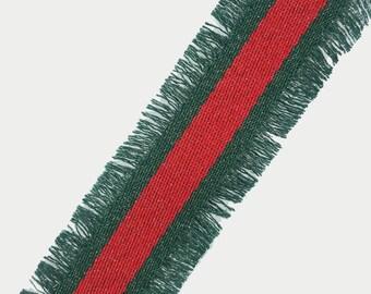 Red Green Fashion Trim Ribbon with Fringe and Lurex, Double Face Trim, DIY Choker Trim, DIY Belt Trim