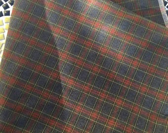 Vintage Plaid Stretch Wool Jersey Fabric Sewing Material
