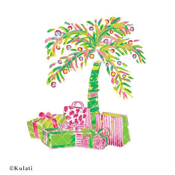 instant download preppy christmas palm tree clipart rh etsy com Tropical Christmas Clip Art palm tree with christmas lights clipart